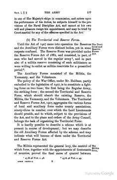 Contemporary commentary on the Territorial and Reserve Forces Act of 1907