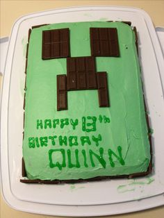 Minecraft cake - Like the idea of using Hershey bars to create the creeper face