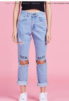 Lazy Oaf x The Ragged Priest Total Mess Jeans More - womens fashion clothing store, online female clothing stores, womens online clothes shopping *ad Look Fashion, Diy Fashion, Korean Fashion, Fashion Outfits, Womens Fashion, Jeans Fashion, Fashion Styles, Painted Jeans, Painted Clothes