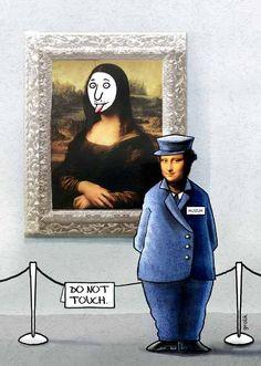 a cartoon Mona Lisa with a cartoon guard Mona Friends, Illustration Photo, La Madone, Mona Lisa Parody, Mona Lisa Smile, Cultura Pop, Humor, Oeuvre D'art, Pop Culture