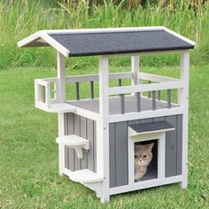 Archie & Oscar Freddy Home Pet Crate with Shade Wooden Cat House, Cat House Diy, Cardboard Cat House, Palette Europe, Outside Cat House, Outdoor Cats, Cat House Outdoor, Outdoor Cat Shelter, Litter Box Enclosure