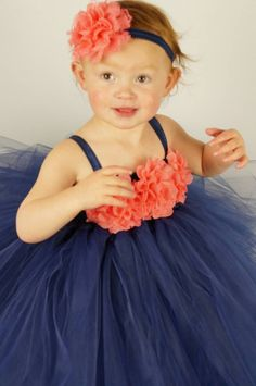 Navy coral tulle dress princess party navy flower by BBMCreations Coral Navy Weddings, Coral Wedding Themes, Wedding Colors, Flower Girls, Flower Girl Dresses, Circus Wedding, Nautical Wedding, Dream Wedding, Wedding Day