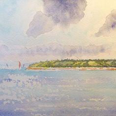 Bainbridge Island. Inspiration from @arttutor on YouTube. #painting #ocean #watercolor #watercolorpainting #aquarelle #washington #bainbridgeisland #art #sailboat