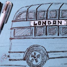 London bus 🇬🇧  #London #bus #londonbus #drawing #pastel #paper #painting #pencil #ink #artcolorboutique #fabercastell #pen #art #black