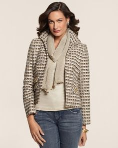 Chico's Neutral Tweed Jacket with Blaine Straight Scarf