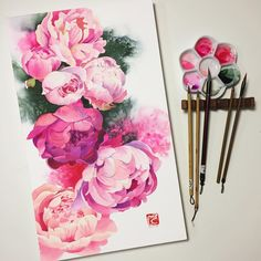 #peony #aquarelle #watercolour #watercolor #WinsorAndNewton #painting #art #illustration #inspiring_watercolors #drawingoftheday #supportart #topcreator #artwork #waterblog #creative #botanicalart #flowers #fleur #peonies