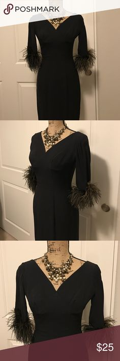 """Gorgeous Ostrich Feather Cocktail Dress Absolutely stunning one of a kind fabulous black fitted v neck cocktail dress with ostrich feather half sleeves. The v neck plunges front and back. The feathers are hues of black, brown and gray. Zipper enclosure in back. The fabric has a polyester/rayon feel and is full lined. It measures 15"""" inches shoulder to shoulder/ 34"""" inches around the bust / 26"""" inches around the waist and is 37"""" inches long. Dresses"""