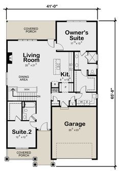 Plan: Square Feet, 2 Bedrooms, 2 Bathrooms - Lovely One-Level Craftsman Cottage Plan - 2 Bedroom House Plans, Ranch House Plans, Craftsman House Plans, Craftsman Farmhouse, Small House Floor Plans, Best House Plans, Dream House Plans, Dream Houses, New Houses