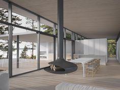 JOARC I ARCHITECTS • Holiday Villas • summerhouse, suspended fireplace, architectural render, finnish architecture, scandinavian design, mökki