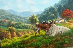 Tulio Dias: Abril 2016 Nature Paintings, House Painting, Cow, Horses, Animals, Beautiful Scenery, Beautiful Paintings, Beautiful Landscapes, Mothers Love