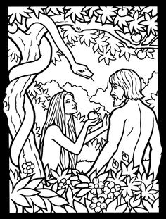 Garden Of Eden Bible Coloring Page See More Old Testament Scenes Stained Glass Book Dover Publications