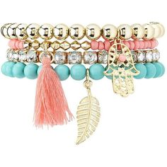Charlotte Russe Beaded Stretch Charm Bracelets - 4 Pack ($6) ❤ liked on Polyvore featuring jewelry, bracelets, accessories, pulseira, pulseras, multi, rhinestone charms, beads jewellery, rhinestone bangles and dangle bracelet charms