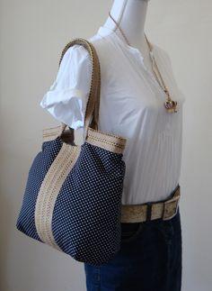 French TRES CHIC black hobo bag with burlap by madebynanna on Etsy