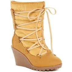 Carrini CA Collection Women's Fashion Faux Fur-Lined Lace-Up Wedge Booties, Size: 10, Beige