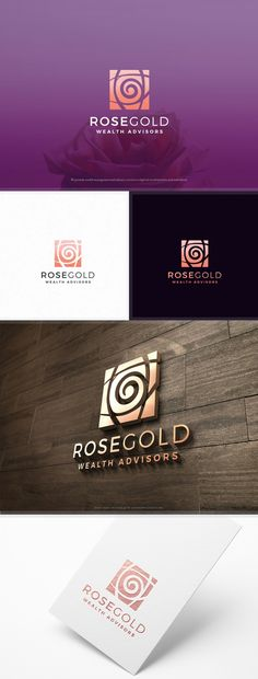 Luxury logo design with a subtle rose gold colors. Typography Logo, Logo Branding, Typography Design, 3 Logo, Environment Logo, Luxury Logo Design, Logos Cards, Environmental Graphic Design, Elegant Logo