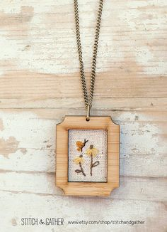 Embroidered Necklace  butterfly & daisies by StitchandGather