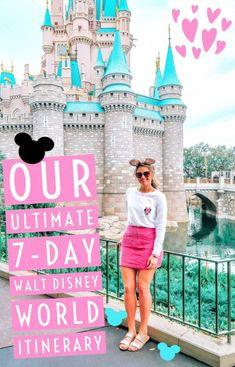 The Ultimate Seven-Day Walt Disney World Itinerary - Walt Disney World - Disney Disney World Resorts, Voyage Disney World, Viaje A Disney World, World Disney, Disney World Vacation Planning, Disney Planning, Disney Vacations, Disney Worlds, Family Vacations