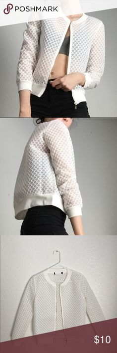 White mesh bomber jacket This unique piece is absolutely adorable! Great for transitioning from summer to fall! This piece has the tag cut out since it's see through but other wise in perfect condition! Jackets & Coats