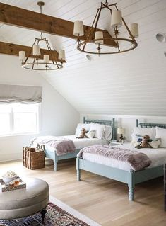my favorite interior design style series | modern farmhouse | beautiful modern farmhouse spaces | whimsical kids room, etoile 4-light chandelier Farmhouse Style Bedrooms, Farmhouse Bedroom Decor, Oak Bedroom, Bedroom Interiors, Bedroom Signs, Master Bedrooms, Bedroom Apartment, Nintendo Console, Kids Bedroom Designs
