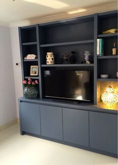 Contemporary media entertainment unit in wandsworth home in 2019 гостиная. Living Room Shelves, Living Room Storage, Living Room Tv, Home Theather, Alcove Storage, Media Furniture, Muebles Living, Tv Decor, Home Decor