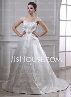 Wedding Dresses - $176.99 - Ball-Gown Square Neckline Court Train Organza Satin Wedding Dress With Embroidery Ruffle Beadwork (002011665) http://jjshouse.com/Ball-Gown-Square-Neckline-Court-Train-Organza-Satin-Wedding-Dress-With-Embroidery-Ruffle-Beadwork-002011665-g11665