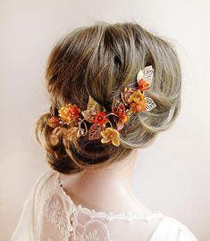 fall hair accessories, floral hair vine, bridal hair vine, fall wedding headpiece, orange and gold, floral hair clip, bridal headpiece on Etsy #affiliatelink