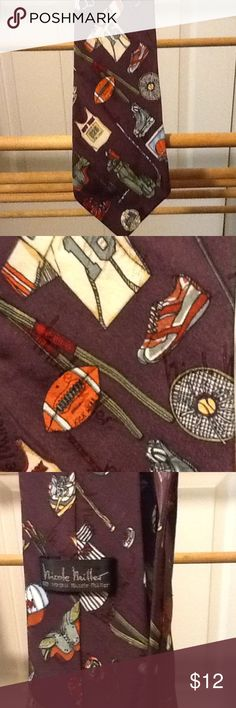 "Men's Sporting Necktie Designer Men's silk vintage necktie. Sports of all kind, golf, skating, skiing, baseball, and basketball. In very good condition. 61"" long. Tall. I think it is dark purple. Nicole Miller Accessories Ties"