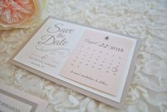 Romantic Champagne and Blush Save the Date