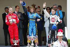 The podium (L to R): Rubens Barrichello (BRA) Ferrari, third; Jarno Trulli (ITA) Renault winner; Jenson Button (GBR) BAR second. Formula One World Championship, Rd 6, Monaco Grand Prix, Race Day, Monte Carlo, 23 May 2004