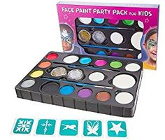 Amazon.com: Blue Squid Face Paint for Kids | X-Large Ultimate Party Pack | 14 Colors, 4 Sponges, 2 Brushes, 2 Glitter Gels & Stencils | Best Quality Water Based Set | Non-Toxic FBA Approved +BONUS Online Guide