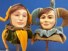 Lot 2 Vintage Doll Head Glass Eyes Stand Harlequin Jester Clown Handmade Artisan