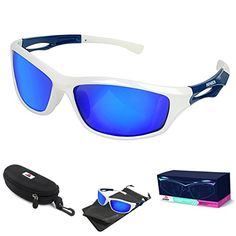32aaac6816f Amazon.com  AFARER Polarized Sport Sunglasses for men women Outdoor Driving  Fishing Cycling Running Golf with TR90 Unbreakable Frame White Blue  Arts