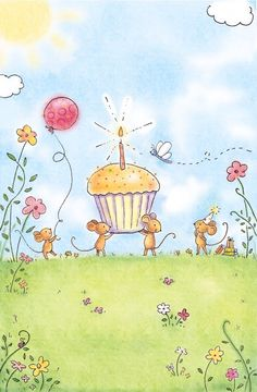 ┌iiiii┐ Happy Birthday to me: butterfly, balloon, flowers, sunny day. Happy, happy, happy day.