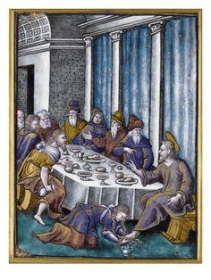 Plaque: le repas chez Simon par PIERRE REYMOND - Musée national de la Renaissance (Ecouen)