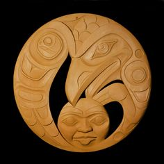 "Raven and Moon Panel (36"" diameter Red Cedar with Acrylic wash) - Don Yeomans (Haida / Metis Nation)"