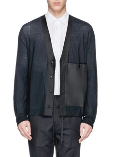 ANN DEMEULEMEESTER - Slub cotton jersey knit cardigan | Black Cardigans Knitwear | Menswear | Lane Crawford - Shop Designer Brands Online