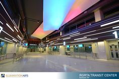 Architectural lighting of The RGRTA Transit Center in Rochester, NY