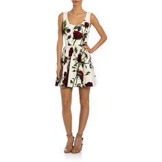 Dolce & Gabbana Rose-Print Poplin Fit & Flare Dress (2,352 CAD) ❤ liked on Polyvore featuring dresses, apparel & accessories, white fit and flare dress, sleeveless fit and flare dress, white scoop neck dress, sleeveless dress and circle skirt