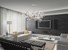 Lighting - modern - Chandeliers - Minneapolis - Bellacor  like this whole room a lot