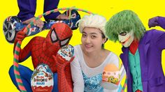 Frozen Elsa Spiderman Kinder Egg Gatherers Challenge w/ Maleficent Joker...