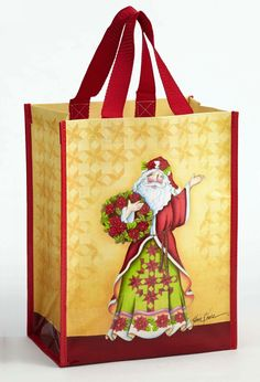 "Jim Shore 13"" 'Poinsettia Santa' Reuseable Bag (March 2016) Christmas Bags, Poinsettia, Reuse, Recycling, March, Reusable Tote Bags, Santa, Poinsettia Flower, Repurpose"
