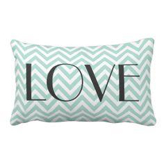 Mint Modern Chevron Love Throw Pillows