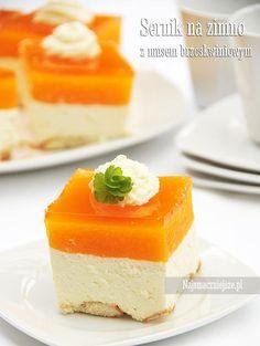 Sernik na zimno z brzoskwiniami  (bez pieczenia, bez sera i jajek )