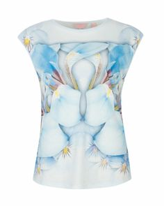 Photo pansy print top - Baby Blue | Tops  T-shirts | Ted Baker