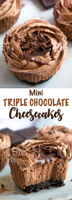 Mini Triple Chocolate Cheesecakes A rich and creamy chocolate cheesecake sits on top of an Oreo crust. It's then topped with chocolate whipped cream, chocolate ganache and chocolate shavings Mini Desserts, Just Desserts, Delicious Desserts, Dessert Recipes, Plated Desserts, Chocolate Recipes, Chocolate Chips, Chocolate Shavings, Chocolate Lovers