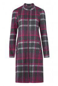 Collarless Check Coat