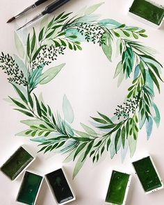messy leaf wreath 🌿 Just how to Get the Bride Arrangement Watercolor Journal, Watercolor Art Paintings, Watercolor Projects, Wreath Watercolor, Watercolour Tutorials, Watercolor Sketch, Hand Painting Art, Watercolor Flowers, Watercolors
