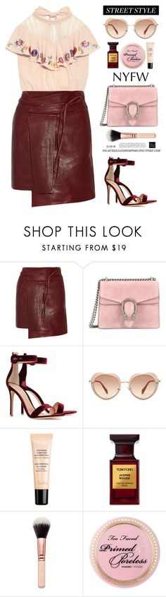"""NYFW Street Style: Day Two / Isabel Marant Foften wrap-effect leather mini skirt"" by palmtreesandpompoms ❤ liked on Polyvore featuring Isabel Marant, Gucci, Gianvito Rossi, Miu Miu, Guerlain, Tom Ford, StreetStyle and NYFW"
