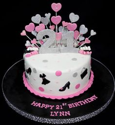 Pink and white hearts 21st birthday cake