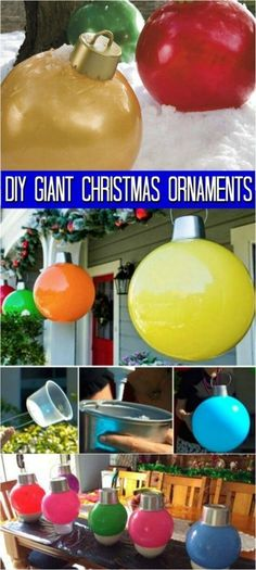How to Make Your Own Giant Christmas Ornaments What kind of Christmas decorations do you have planned this year? Originally I was thinking that I would just do the usual strings of lights. I love Christmas lights, but let's face it—they only look Diy Christmas Lights, Noel Christmas, Christmas Ball Ornaments Diy, Primitive Christmas, Country Christmas, Christmas Christmas, Chrismas Lights Outdoor, Homemade Christmas, Colored Christmas Lights